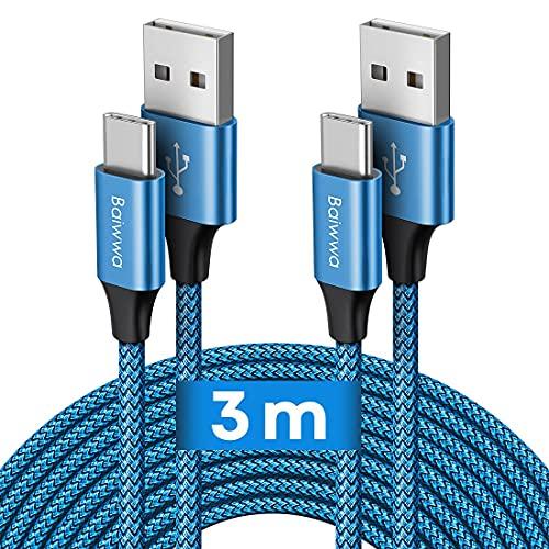 Câble USB C [3m Lot de 2], Baiwwa Long Cable USB Type C Chargeur Rapide Résistant Nylon Tressé Charge USB C pour Samsung Galaxy S20 S10 S9 S8 Plus, A51 A41 A50 A71 A40 A21s A12