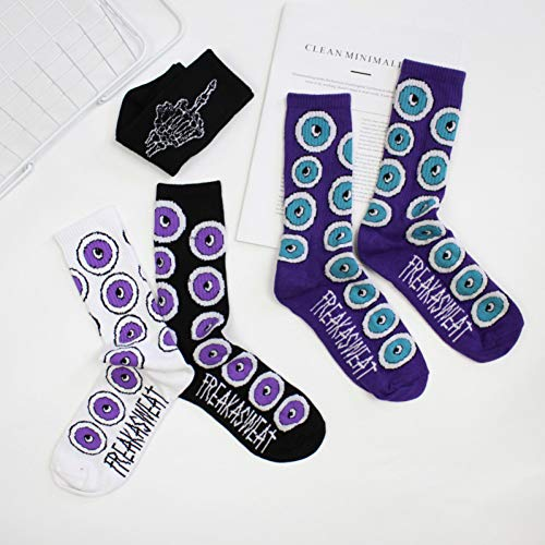 MIWNX 5 Paia Calcetines Street Letters Purple Eyeballs Tide Brand Hombres Y Mujeres Stocks Primavera Y Otoño Calcetines De Invierno