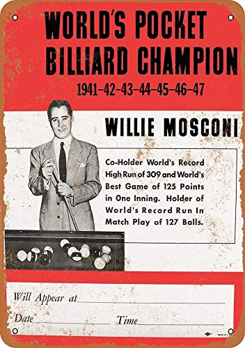 Yilooom Retro Vintage Metal Signs Novelty Wall Plaque Wall Art Decor Accessories Gifts - 1948 Willie Mosconi Billiard Champion - 12 x 18 Inches