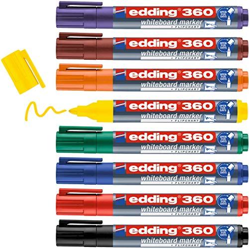 edding 360 Whiteboardmarker Set - bunte Farben - 8 Whiteboard Stifte - Rundspitze 1,5-3 mm - Boardmarker abwischbar - für Whiteboard, Flipchart, Magnettafel, Memoboard - Sketchnotes - nachfüllbar