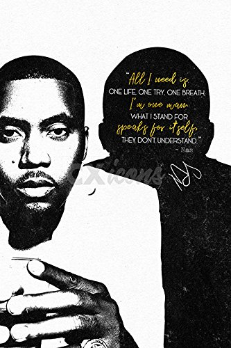 NAS QUOTE POSTER PRINT - 12 X 8 inch - PRE SIGNED - EXCEPTIONELE KWALITEIT