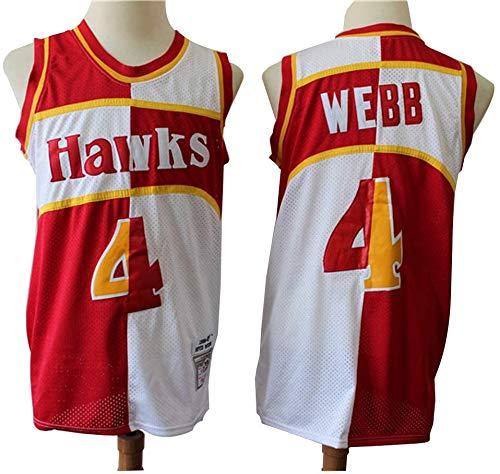 XIAOHAI Hombres Camisetas de la NBA-Atlanta Hawks # 4 Spud Webb Desgaste Fresco y Transpirable Tejido Transpirable Resistente al Baloncesto de la Vendimia Jerseys,M