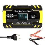 Cargador de batería inteligente automático/mantenedor 12 V/8 A 24 V/4 A con pantalla LCD para carrito de golf, motocicleta, coche, camión, yate, detección de voltaje automático, modo de carga táctil