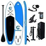 Tuxedo Sailor SUP Stand Up Paddle Board gonflable ultra léger 335 x 84 x 15 cm Accessoires complets Pagaie réglable, pompe, sac à dos de voyage, laisse, sac étanche jusqu'à 150 kg