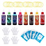 Milisten 128 Piezas de Tie Dye Kit- DIY Tie- Dye Kits con 8 Coloridos Tye Tintes Y Suministros de Decoración para El Diseño de Tela- Para Niños Niñas Niños Y Adultos de Todas Las Edades