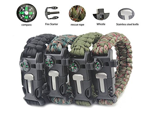 of bracelet with survival whistles Aimic Emergency Paracord Bracelets (4 Pack) - Fire Starter, Emergency Knife, Compass & Whistle - Best Wilderness Survival-Kit for Camping, Fishing and Hiking