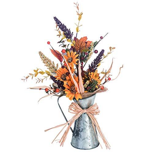 Rustic Metal Pitcher Autumn Flower Centerpiece