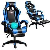 Grykon Computer-Gaming-Stuhl mit Massagegerät. Ergonomischer Bürostuhl Gaming-Rennstuhl, Computer-Stuhl, verstellbare Kopfstütze mit hoher Rückenlehne Fußstütze und Armlehne (Blau)