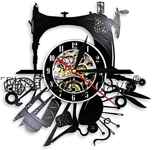 WTTA vinilo récord reloj de pared vintage silueta máquina de coser hecha a mano colgante regalo único