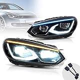 VLAND Faros delanteros LED completos compatibles con Golf 6 mk6 VI TSI TDI 2008-2013 Conjunto de lámpara frontal, (no apto para Golf 6 GTI/GTD o R), con DRL dinámico y luz azul de respiración