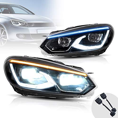 VLAND Scheinwerfer Kompatibel mit Golf 6 mk6 VI TSI TDI 2008-2013 Frontscheinwerfer,Mit dynamischer DRL und blauem Atemlicht, Paar (Fahrer- und Beifahrerseite)