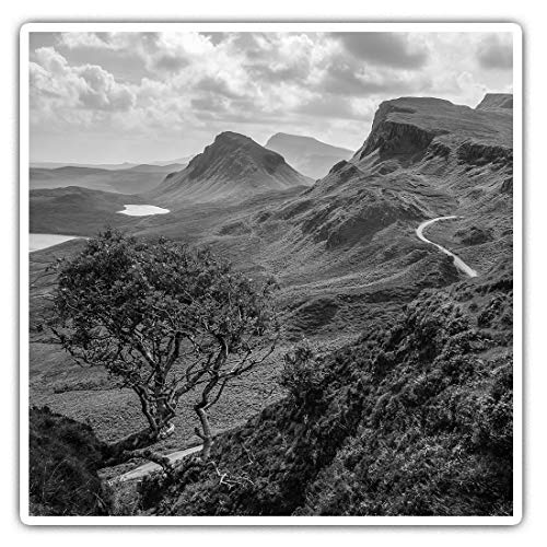 Awesome Square Stickers (Set of 2) 7.5cm BW - Quiraing Mountains Isle of Skye Scotland Fun Decals for Laptops,Tablets,Luggage,Scrap Booking,Fridges,Cool Gift #37294