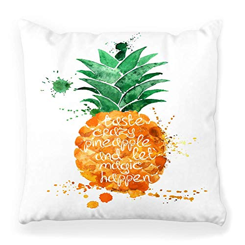 REAlCOOL Funda de almohada cuadrada de 45,7 x 45,7 cm, dibujado a mano, diseño de piña, fruta, blanco tipografía, eslogan cita, jugo, fuente alimentaria, grunge