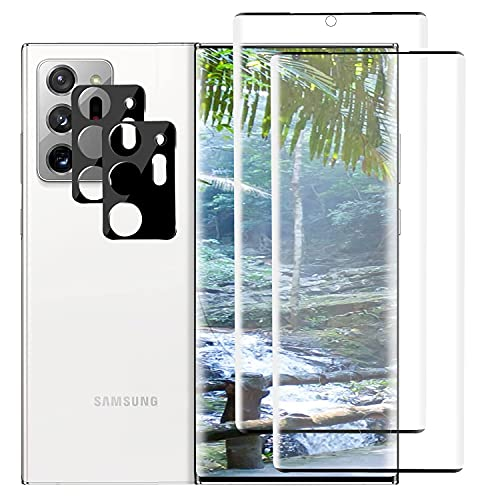 """2+2 Pack Tempered Glass Screen Protectors and Camera Lens Protectors Compatible with Samsung Galaxy Note 20 Ultra/Note 20 Ultra 5G, 9H,3D Curved,HD Clarity,Case Friendly,Bubble Free,6.9"""""""