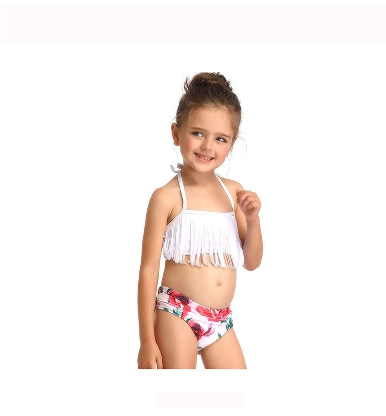 Chitty Toddler Girl's Cute Halter Neck Bikini Swimwear with Tassel High Waist Cheeky Bottom Tankini White Dry Quick Elastic Sexy (Color : Black, Size : 140)