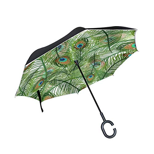 Peacock Feather Light Green Inverted Umbrella Windproof Compact Large Reverse Double Layer Umbrellas for Women with C-Shape Handle Upside Down Safety Reflective Strip UV Protection Animal Pattern
