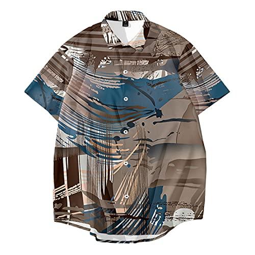 CHUIKUAJ Hombre Moda Camisas Manga Corta - Cárdigan Informal/Camisetas Estampadas Creativas/Ropa de Calle de Primavera y Verano/Estilo Hip-Hop Suelto/S-6XL Gran Tamaño,Brown-5XL