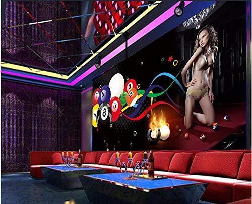 MUMU Wandtattoos Hintergrund Wandbilder3D Vlies Premium Kunstdruck Wandbild Dekoration Poster Bild Design Moderner Hintergrund Home Decor_Billiard Bar Wallpaper_300Cm (B) X210Cm (H)