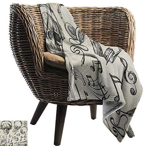 ZSUO gooien deken voor bank muziek, afdrukken van pianosleutels op achtergrond met muziek notities afbeelding nostalgia jazz thema, gouden zwart gezellig en duurzaam Fabric-Machine wasbaar