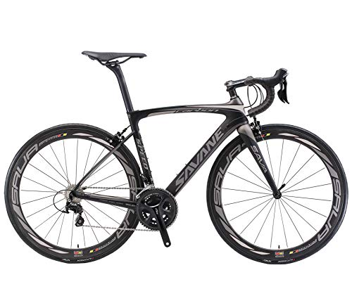 SAVADECK HERD6.0 700C Bicicleta de Carretera de Fibra de Carbono Shimano 105 R7000 22S Sistema de transmisión Michelin Neumático Fizi:k Sillín (Negro Gris, 52)