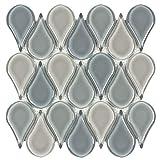 MTO0231 Modern Tear Drop Green Gray Blue Glossy Glass Mosaic Tile