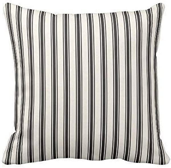 GOOESING Classic Ticking Stripe Pattern Black And Cream Pillowcase Pillow Shams Case Cushion Cover