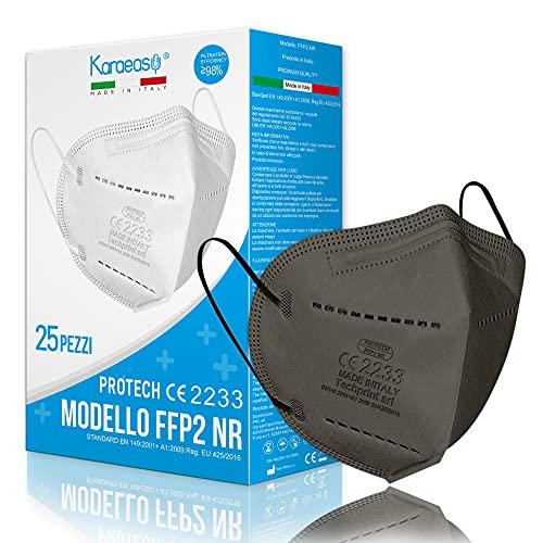 KARAEASY Mascherine Ffp2 Grigio Scuro Certificate CE Made In Italy Mascherina FFP2 5 strati 25 PZ