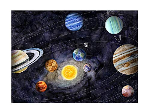 Solar System Watercolor Print, Space Wall Art, Space Nursery Decor -...