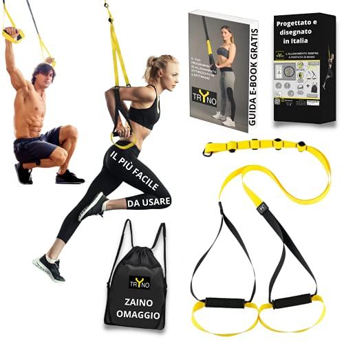 TRYNO TRX Fitness | Herramienta multifunción para gimnasio | TRX Suspension Training de casa | Entrenamiento Suspensión Nuevo TRX Diseño Italiano 2021 + Cómodo y ligero + Mochila de regalo