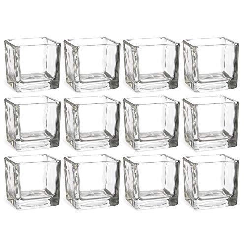 12 x stilvolle und Massive Glaswürfel als Windlicht für Teelichter H 6 cm - auch als Vorspeisengläser Dessertgläser oder Vase einsetzbar