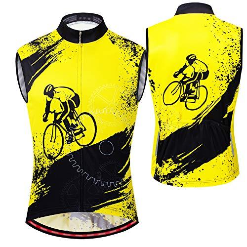 Chalecos Ciclismo Hombre,Reflectante Chaleco Deportivo,Ligera Ultrafina Chaleco Bicicleta,Transpirable Chaleco para Ciclismo,Camiseta de Ciclismo Sin Mangas Chaleco de Bicic(Size:METRO,Color:amarillo)