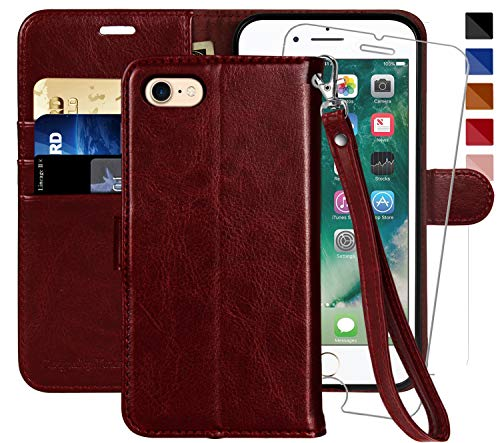 MONASAY iPhone 7 Wallet Case/iPhone 8 Wallet Case/iPhone SE 2020 Case,4.7-inch, [Glass Screen Protector Included] Flip Folio Leather Cell Phone Cover with Credit Card Holder for Apple iPhone 7/8/SE2