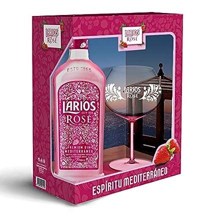 Larios Rosé Ginebra 37,5 % + Pack Regalo Copa, 700ml