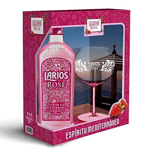 Larios Rosé Ginebra Premium 37,5 % + Pack Regalo Copa - 700