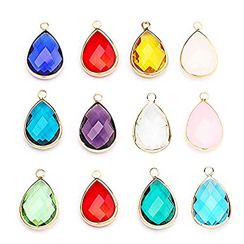 12Pcs Teardrops Crystal Pendants, Crystal Glass Stone Pendants Charms for Necklace Jewelry Making
