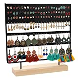 Earring Stand Display Rack 3-Tier Ear Stud Holder Jewelry Organizer Ear Stud Earring Holder 144 Holes with Wood Base Stand Display Rack for Women Girls Gift Ear Stud Holders (black)