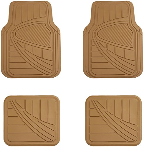 AmazonBasics 4 Piece Rubber Car Floor Mat, Beige