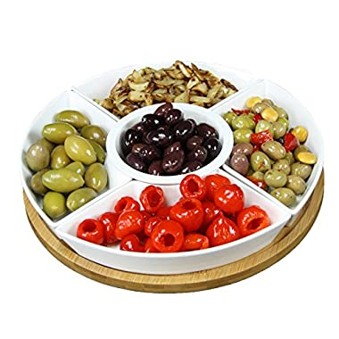 Elama Signature Lazy Susan Appetizer and Condiment Server Set with 5 Serving Dishes and a Bamboo Lazy Suzan Serving Tray, 12 1/4  L and W, 6 Piece