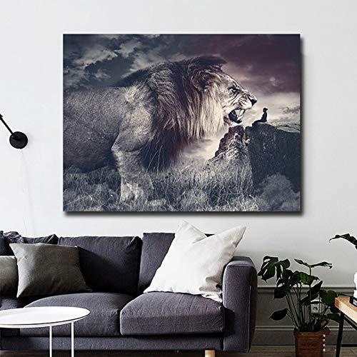 wZUN Carteles e Impresiones de Lienzo de león rugiente de Animales Salvajes africanos en Blanco y Negro imágenes murales Sala de Estar decoración del hogar 60X90 Sin Marco