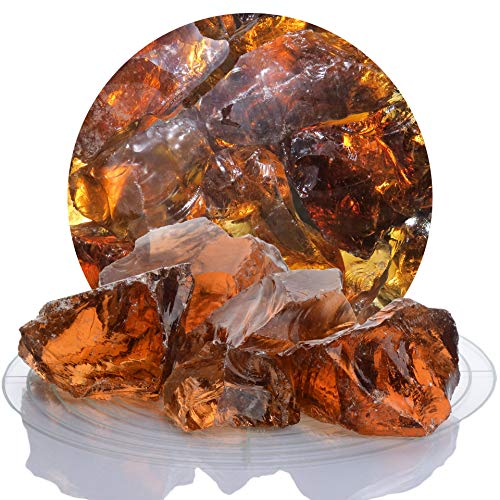 Schicker Mineral Bunte Glasbrocken Gabionen 20 kg, Glassteine 40-80 mm aus Deutschland, Glasbruch in vielen Farben (Bernstein)