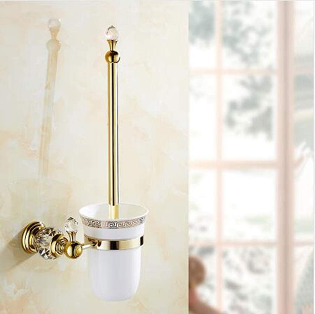 LUDSUY Bathroom Accessories Limited time sale Brass Crystal Luxury goods Toilet Holder Brush