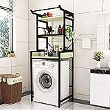 木材洗濯機収納棚/バスルーム収納ラック/スペースセーバーオーガナイザーユニット、アジャスタブルスタンド、強力ベアリング、トイレ用浴室洗濯機