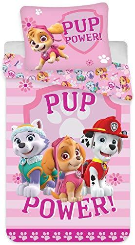 Paw Patrol Mädchen-Bettwäsche · Kinderbettwäsche/Babybettwäsche ·Baumwolle · Rosa, Pink · PUP Power · Wendebettwäsche · Kissenbezug 40x60 Bettbezug 100x135 cm