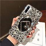 Herbests Compatibile con Samsung Galaxy Note 10 Plus Cover Case Lusso Brillantini Bling Diamante a Strass Custodia TPU Silicone Bumper Case con Trucco Specchio Cover,Bianco