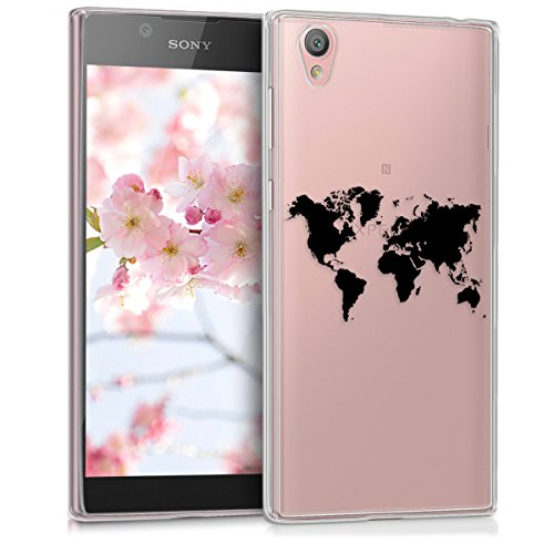 kwmobile Sony Xperia L1 Hülle - Handyhülle für Sony Xperia L1 - Handy Case in Travel Umriss Design Schwarz Transparent