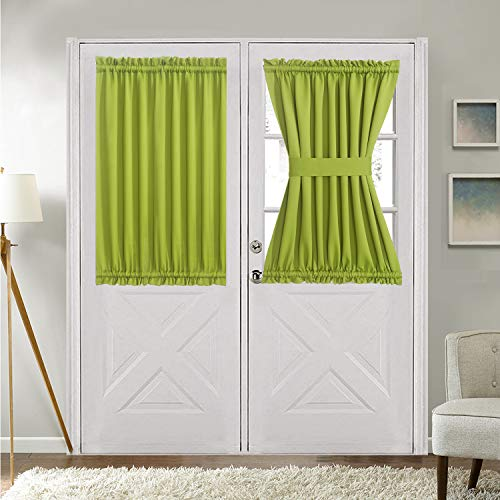 """Aquazolax Patio Door Curtain Panel Blackout Drapes 54""""x 40"""" Curtains Decorative with Tieback for French Doors - Single Panel, Greenery"""