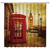 Vintage London Duschvorhang, Retro, rote Handyzelle, alte Straße, romantische Stadt-Szene, Big Ben, Stoff, Badezimmer-Vorhang-Set, 180 x 180 cm, mit Haken, Rot / Braun
