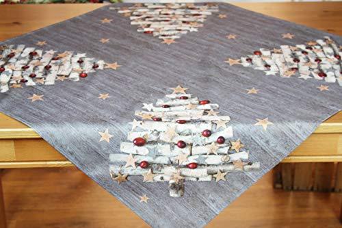 Kamaca Tischdecke X-Mas Tree Druck-Motiv mit weihnachtlichen Motiven mit Lotus Effekt FLECKSCHUTZ EIN Schmuckstück zu Winter Advent Weihnachten (X-Mas Tree, Tischdecke 80x80 cm)