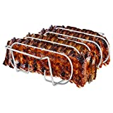Rib Rack, Stainless Steel Roasting Stand, Holds 4 Ribs for Grilling...