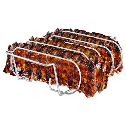 LINELAX Rib Rack, Stainless Steel Roasting Stand, Holds 4 Ribs for Grilling Barbecuing & Smoking - BBQ Rib Rack for Gas Smoker or Charcoal Grill